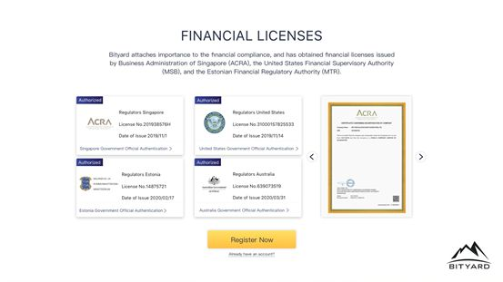 Bityard Exchange Granted Crypto Financial Licenses from Multiple Authorities