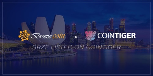Construction Expert Breezecoin (BRZE) Expands Further, Listed on CoinTiger Crypto Exchange