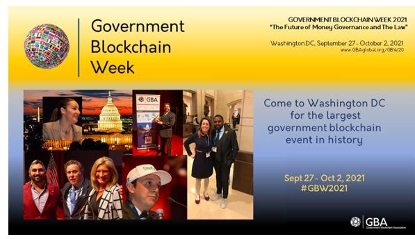Government Blockchain Association Announces Government Blockchain Week in Washington DC September 27 - October 2