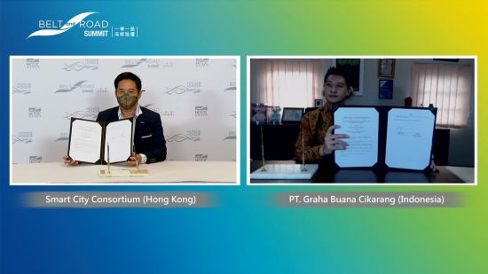 The fifth Belt and Road Summit opened today as an online event, covering plenary sessions, one-to-one business matching meetings and project pitching sessions. The first day of the summit marked the beginning of a new business partnership between the Smart City Consortium and Indonesia-based enterprise PT Graha Buana Cikarang, for the purpose of expanding Hong Kong's smart city technology to Southeast Asia.