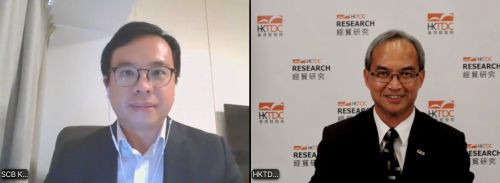 (from left) Kelvin Lau, Senior Economist, Greater China, Standard Chartered and Nicholas Kwan, Director of Research, HKTDC at the online press conference of