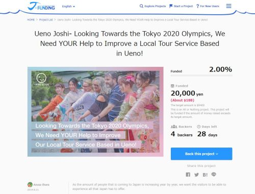 Ueno Joshi Tour Group looks to Crowdfunding to help create a tour perfect for visitors during the 2020 Tokyo Olympics
