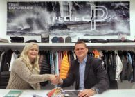 Gothenburg, Sweden (2/4) - Pelle P CEO, Cecilia Petterson with AWMRT Executive Director James Pleasance (c) Photo by Alpari World Match Racing Tour